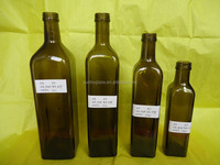 Factory Amber Marasca/Square Olive Oil Glass Bottle for Sale