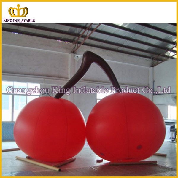 Hot-selling inflatable cherry model for promotion,valid red inflatable cherry replica