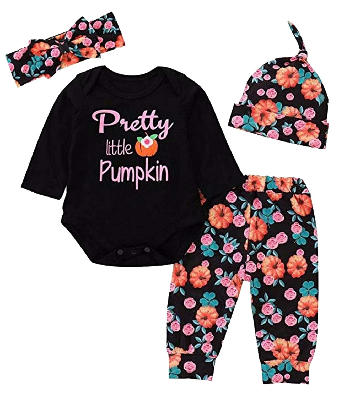 81210ec1e4eb Get Quotations · 4Pcs Infant Girl Pretty Little Pumpkin Romper Floral Pants  Halloween Outfits Set
