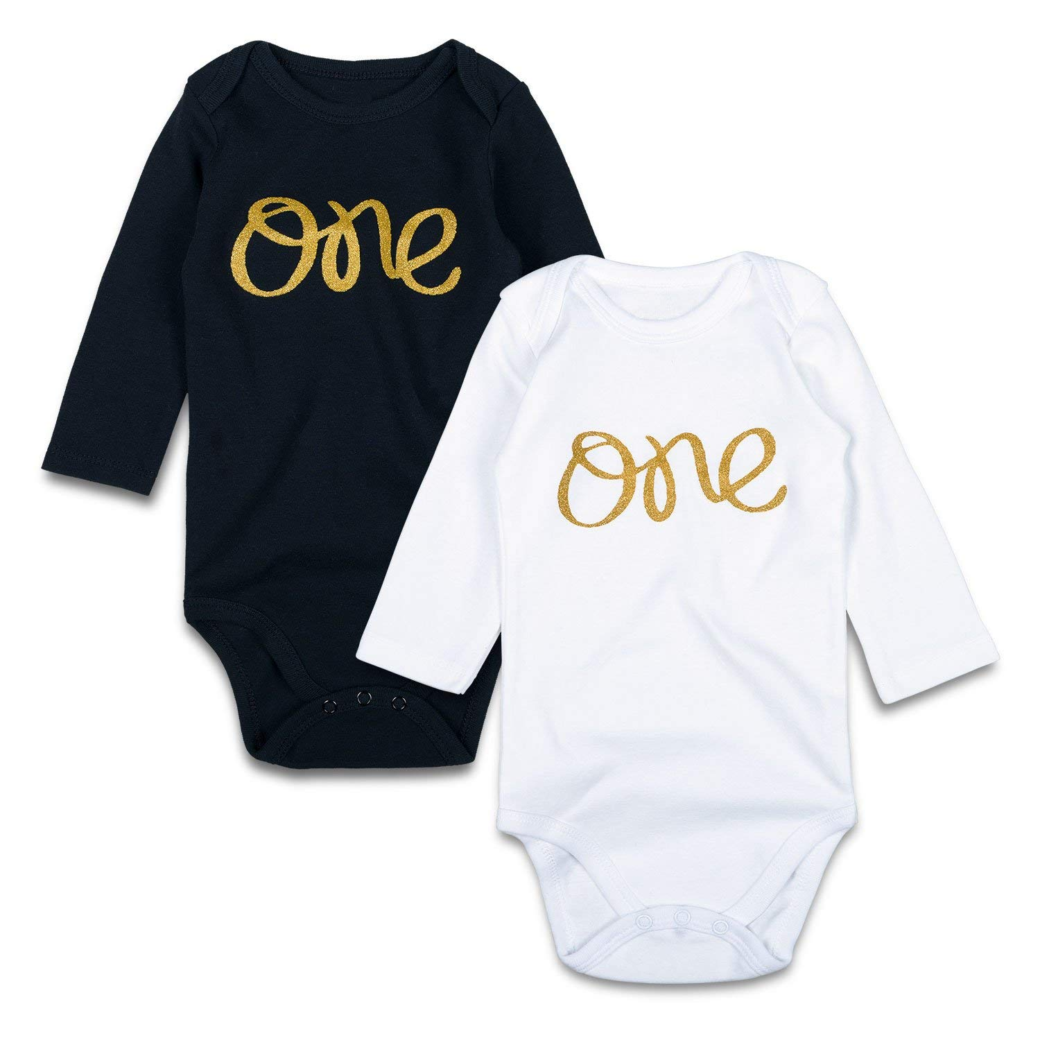 a2d38abf9e Get Quotations · SOBOWO Gold One 2-Pack Long Sleeve Bodysuits for Newborn  Girls Boys