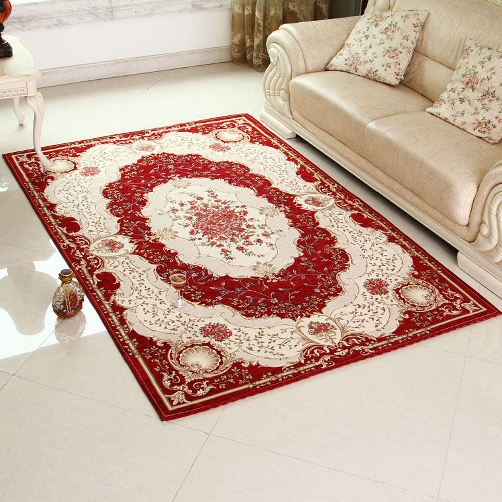 european style non slip thicken rectangle living room floral area carpet classical bedroom floor. Black Bedroom Furniture Sets. Home Design Ideas