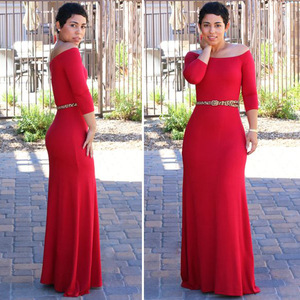 summer one piece dress boat sleeve off shoulder long sleeve bodycon long maxi dress with sequin belt evening dress