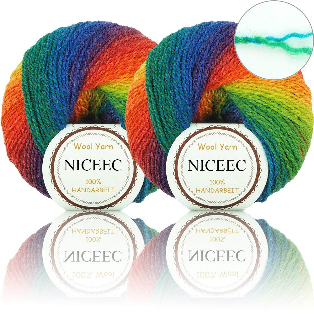 Rainbow Soft Yarn New 2 ply Wool Blend Colorful Yarn For Crochet Knit By Huicai With 2 Skeins Total Length 2×200m,2×219yards,50g×2-011