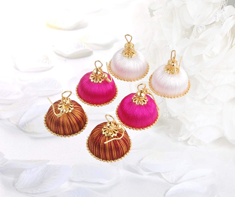 Krishna Handmade INDIAN Trendy Chandelier Earrings [3 pair of Earrings] [20mm Dia] [KR-CMB-H35]