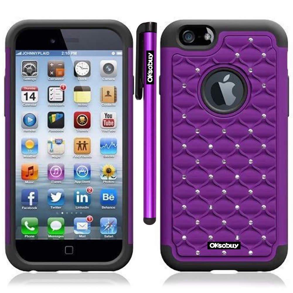 OkSoBuy® Apple Iphone 6(4.7 Inch) Case Hybrid Dual Layer Armor Case Glitter Studded Diamond Dual Layer Casefor Apple Iphone 6(4.7 Inch) Case with Screen Protector and Stylus (Purple)
