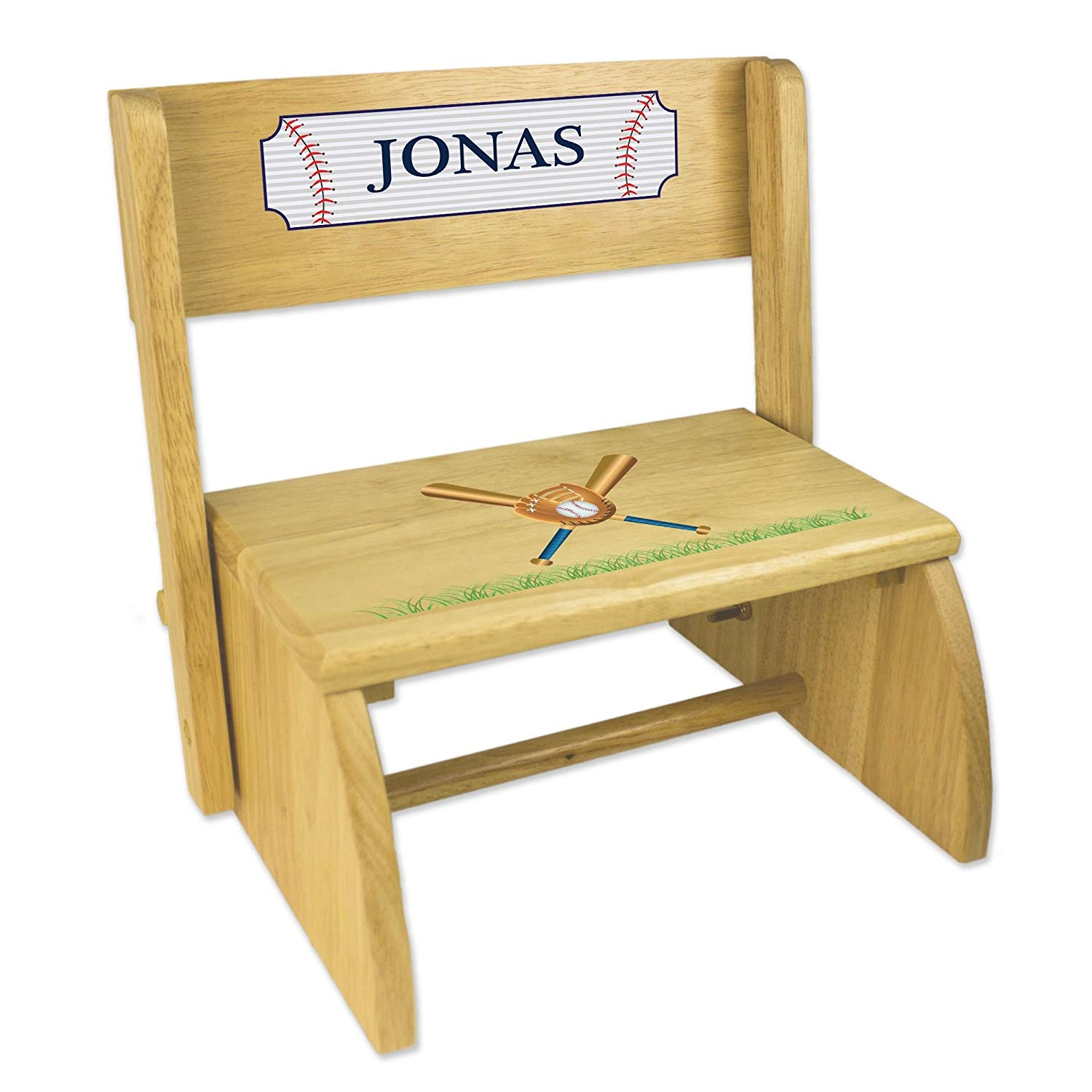 Personalized Baseball Natural Wooden Folding Stool and Seat