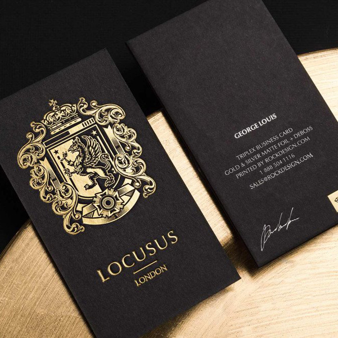 Uncoated Paper Black Gold Foil Hot Stamp Printing Business Cards Card Product On