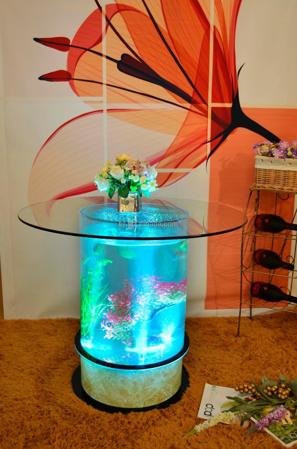 Round Glass Aquarium Water Bubble Glowing Aquarium Table
