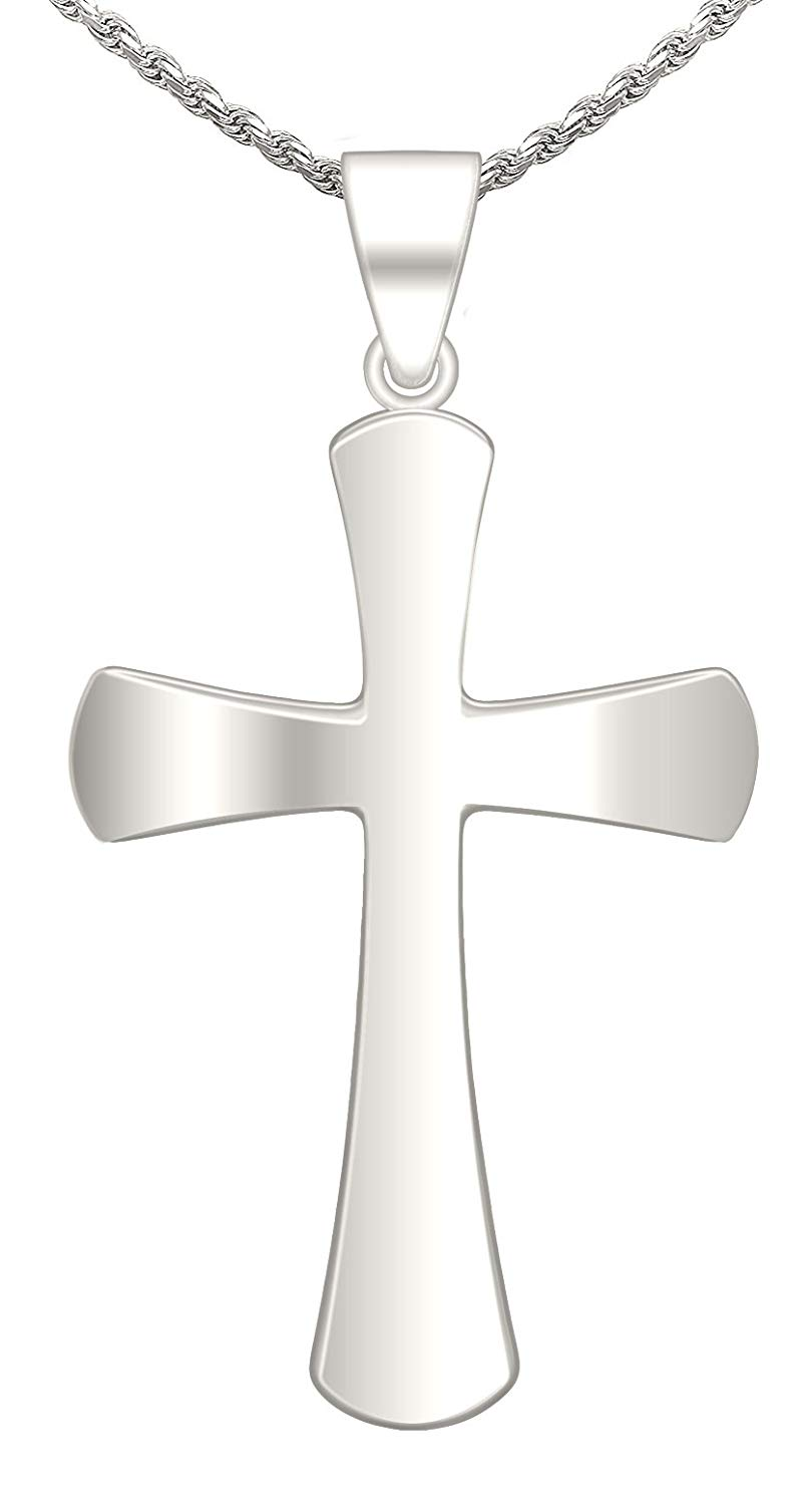 US Jewels And Gems New 0.875in 0.925 Sterling Silver Christian Cross Pendant Necklace, Polished Finish