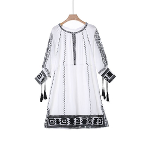 long sleeve india rayon dress embroidery loose women dress of beach