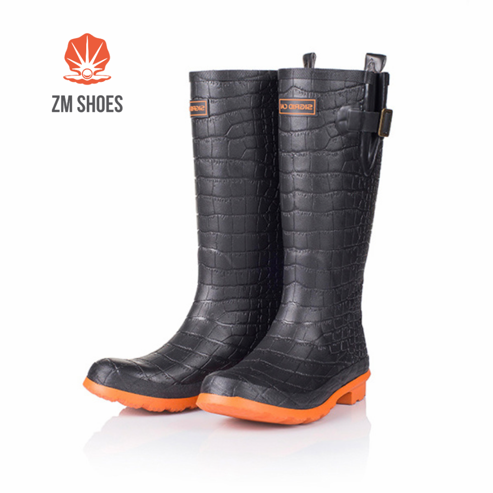 Hot sales black rubber crocodile rain hunting boots for women