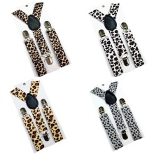 New Children Kids Boy Girls Clip-on Leopard Suspenders Elastic Adjustable Braces