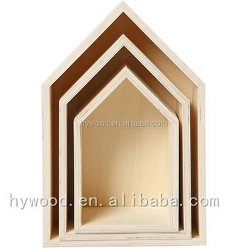 Custom Box Type House Designs Decor Set Of 3 Wooden Wall Art ...