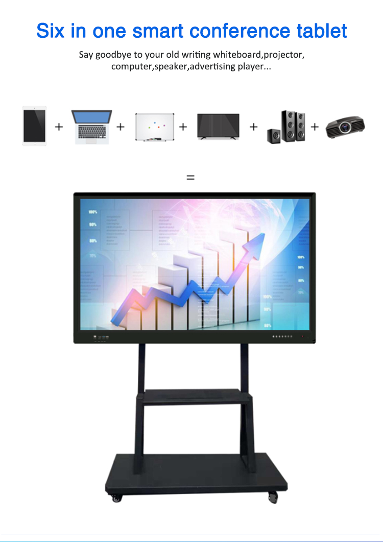 LCD Display 3D Speaker TV Interaktif Nirkabel Papan Tulis untuk Pendidikan Meetingroom Club