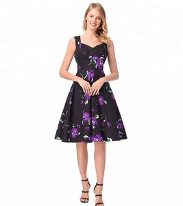 A3709 summer Europe rose printed v-neck strapless dress purple rose sleeveless pleated dress