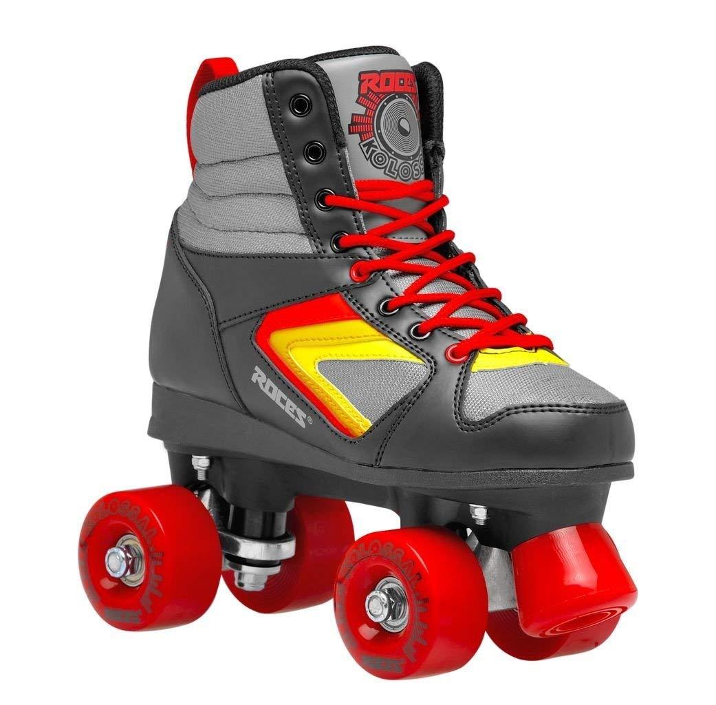 Roces Unisex Kolossal Fitness Quad Skates Roller Skate Black/Gray/Red 550041