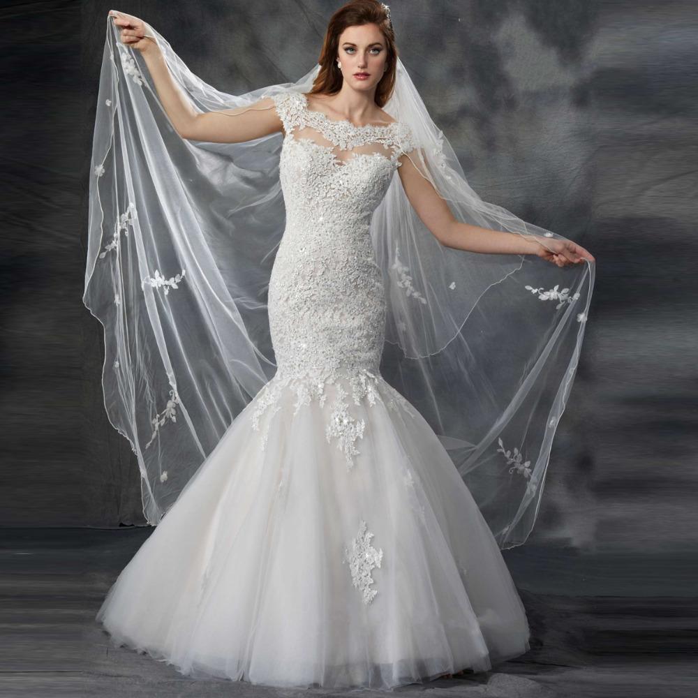 Vintage Wedding Dresses With Cap Sleeves: Fantastic Mermaid Wedding Dress Cap Sleeves Beadings Lace