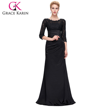 Grace Karin Elegant Black Long Sleeve Lace Prom Dresses Cl4524 1