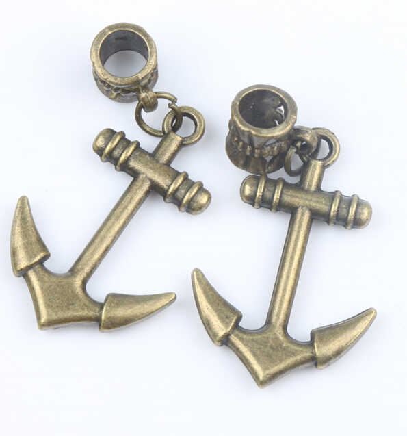 30ps MIC 19.5x40mm Retro Antique Bronze smooth Anchor Metal Big Hole Beads Dangle Fit European Charm Bracelets B043