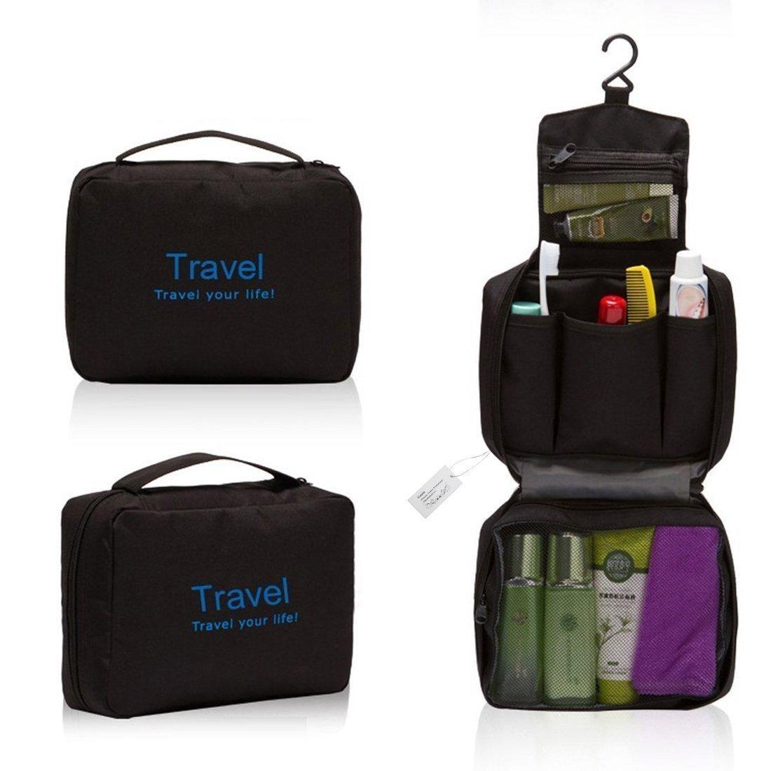 Gmin Brand Men Women Practical Waterproof Nylon Wash Bag, Hanging Wash Bag, Cosmetic Makeup Case Foldable Organizer Bag, Multifunctional Wash Bag for Travel & Camping (Black)