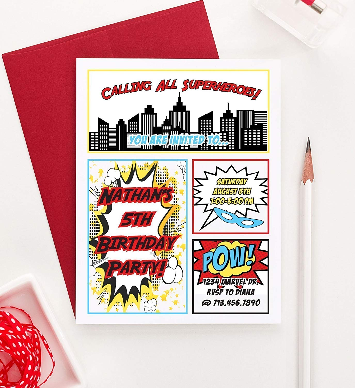 Get Quotations Superhero Birthday Party Invitations Super Hero Invitation