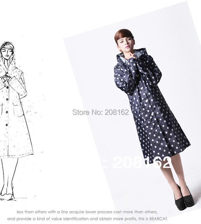Мода Dot плащи длинный отрезок тонкий пончо дождь куртки пальто для женщин одежда