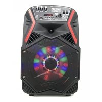 2018 New style single 8 inch outdoor trolley speaker with disco light/USB/TF Card/BT/FM radio/Digital Display