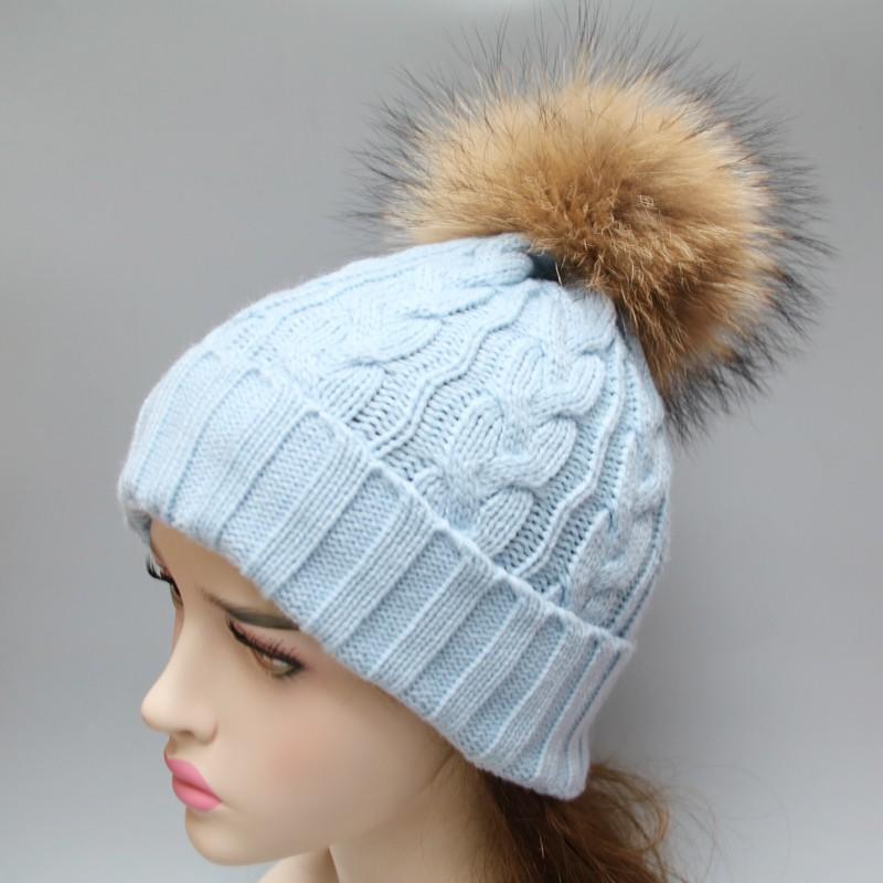 1c4f472a237 Top grade genuine large fur pompon hat fur ball hat fur beanies ...
