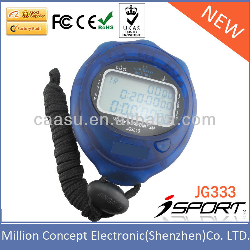 Large LCD Screen Belt Clip 100 Laps Memory Stop Watch