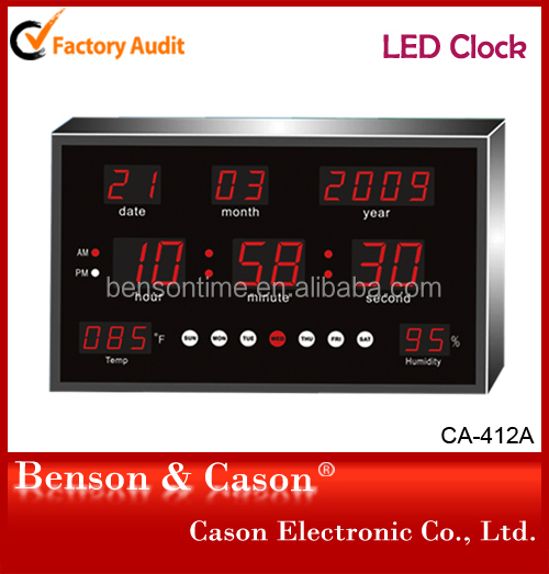 Cason LED Digital Wall Clock With Date And Temperature For Bedroom
