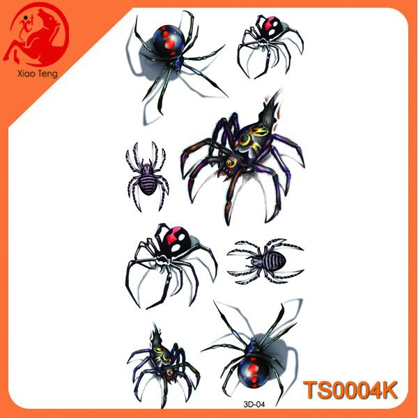 3D Spider Waterproof Tattoo Sticker,3D Tattoo Body Stickers,Custom Temporary Tattoos