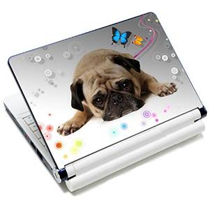 "Universal Size Laptop Notbook Decal Skin Sticker Protector Laptop Skin For 7"" 8.9"" 10"" 10.1"" 10.2"" Laptop Notebook,Includes 2 Wrist Pads, Puggy Dog"
