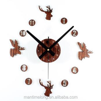 deer head diy wall sticker clock,elk reindeer moose caribou head
