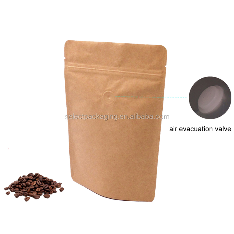 Small kraft paper coffee bean packaging bag with valve