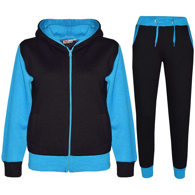 Kids Tracksuit Girls Boys Fleece Hooded Hoodie Bottom Jogging Suit Jogger 5-13Yr