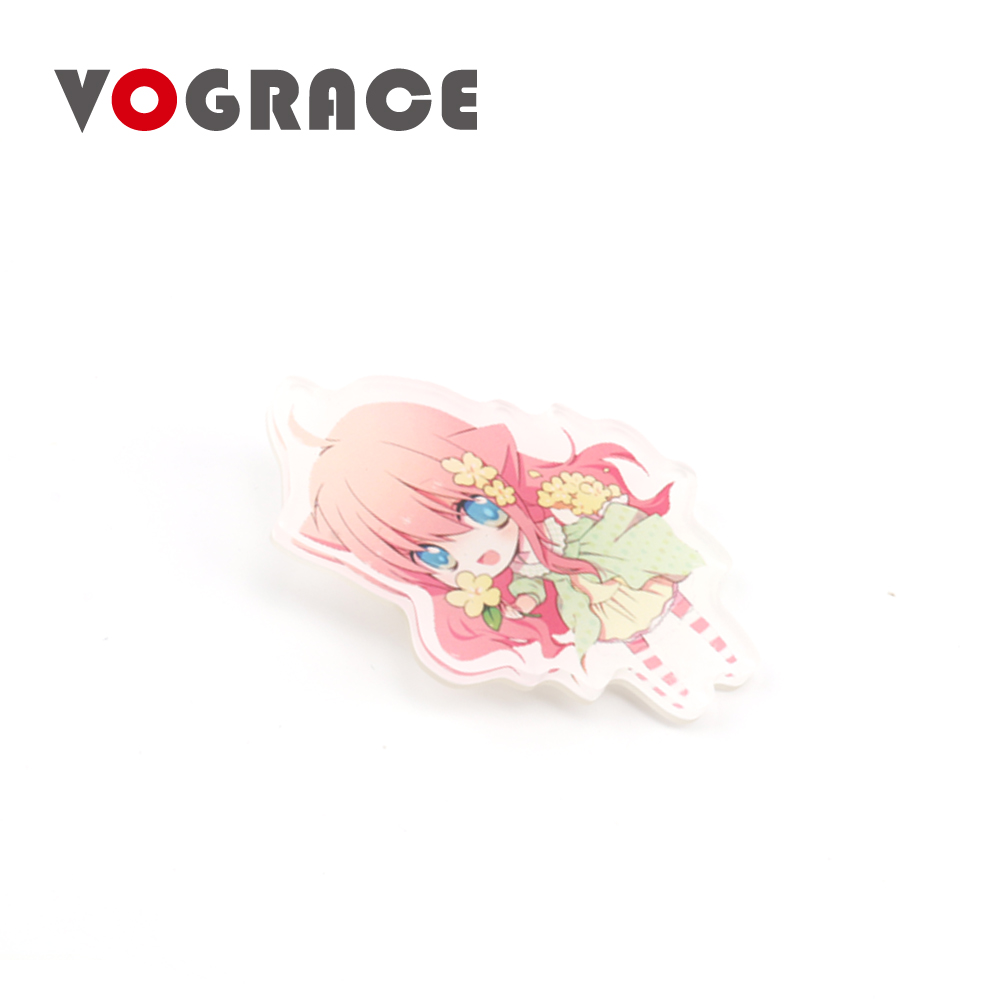 Vograce high quality wholesale custom shaped <strong>logo</strong> personalized blank plastic acrylic button name tinplate badge