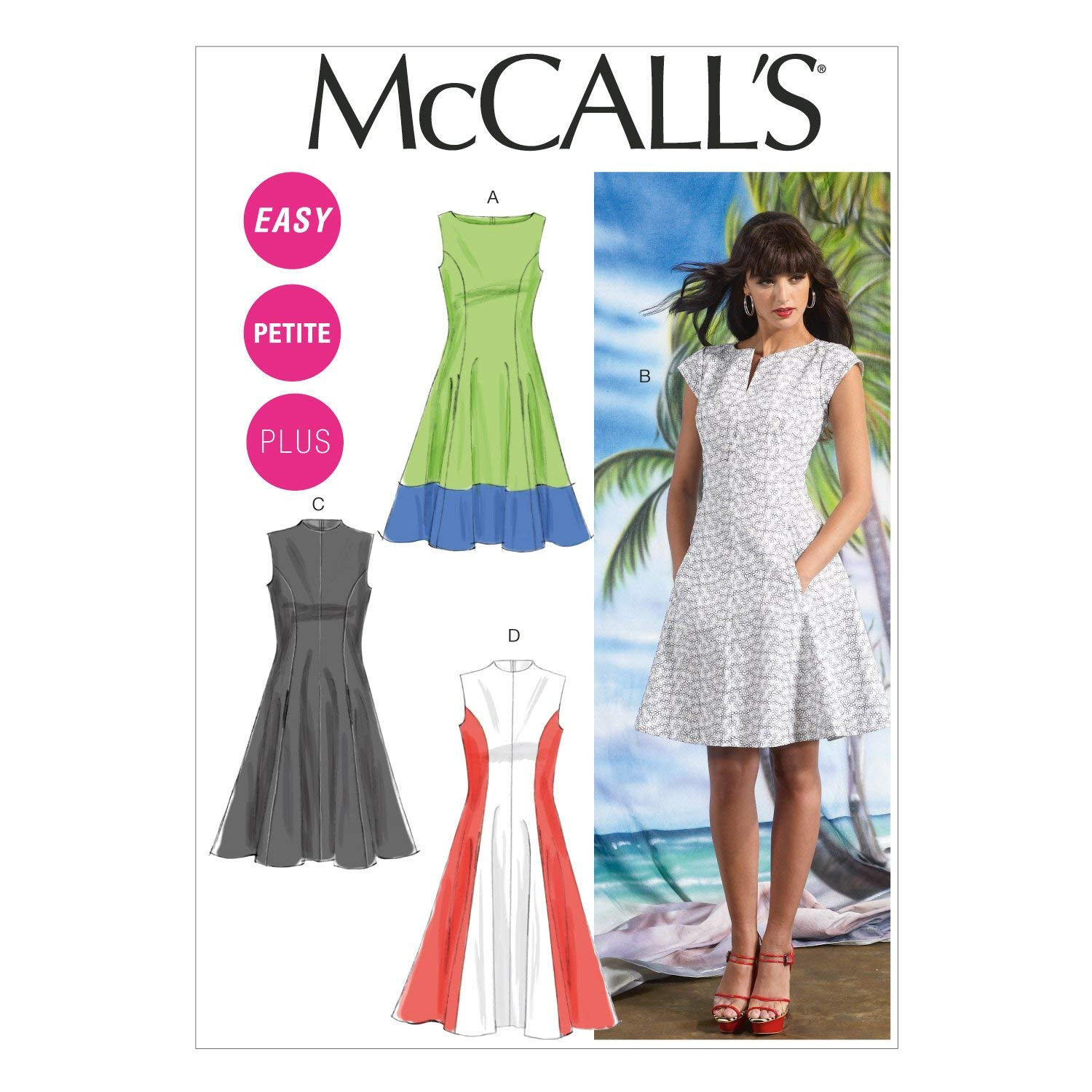 McCalls Patterns M7349 Misses//Miss Petite Sleeveless or Raglan Sleeve Fit and Flare Dresses 6-8-10-12-14 Size A5