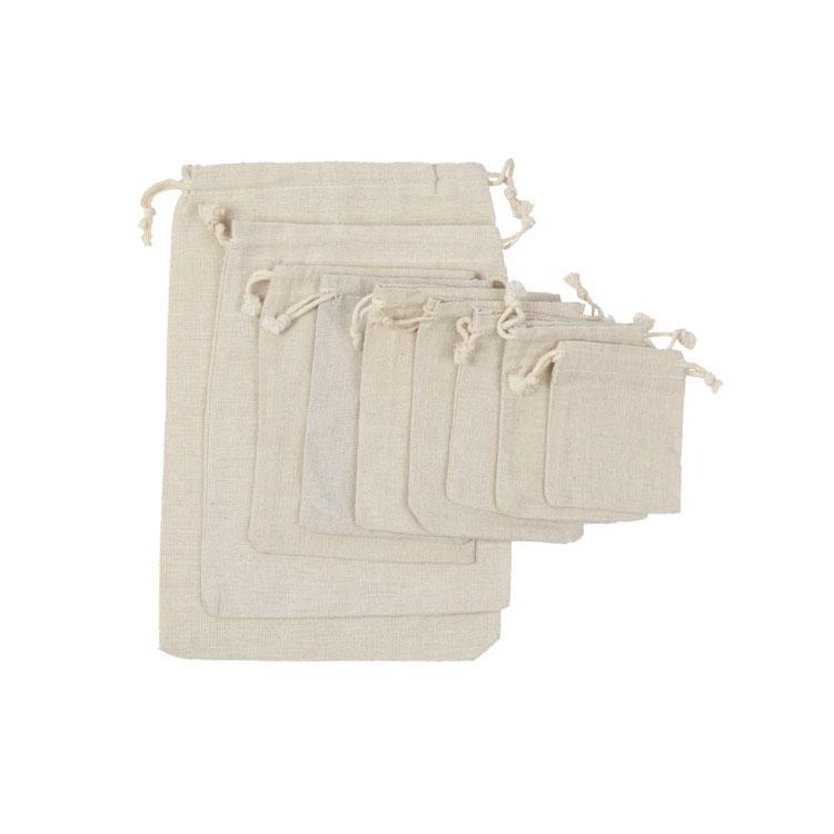 Cordão de algodão saco de lona personalizado com corda dupla