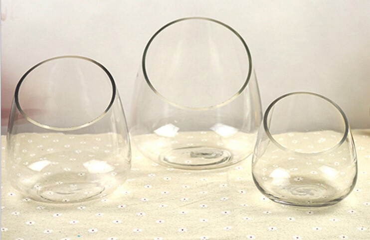 Clear Slant Cut Bowl Glass Vase Glass Terrarium 6 Inch X 2 7 Inch Half Cut Terrarium Slanted