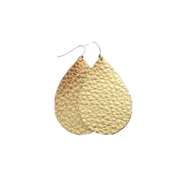 Custom Fashion Golden Leather Teardrop Statement Dangle Hook Earrings For Women
