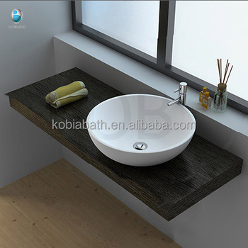 Stone Resin Bathroom Sink Small Round
