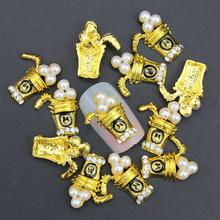 10 Pcs Glitter 3D Pearl Beverages Cup Rhinestones For Nail Art Decorations Gel Polish DIY Gold