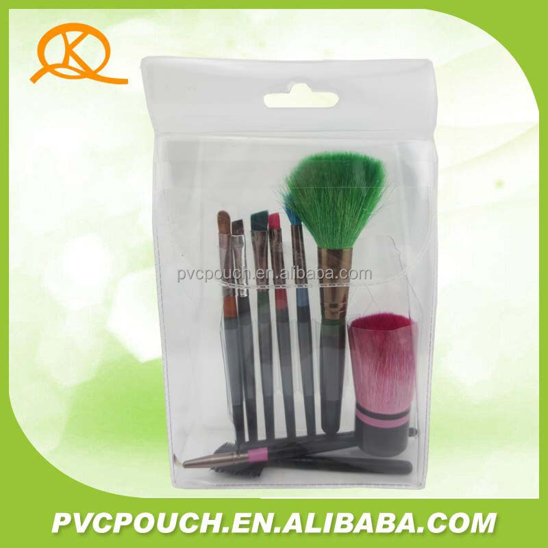 Hot sales recyclable eco-friendly multicolor transparent PVC trading cosmetic plastic bag for brush