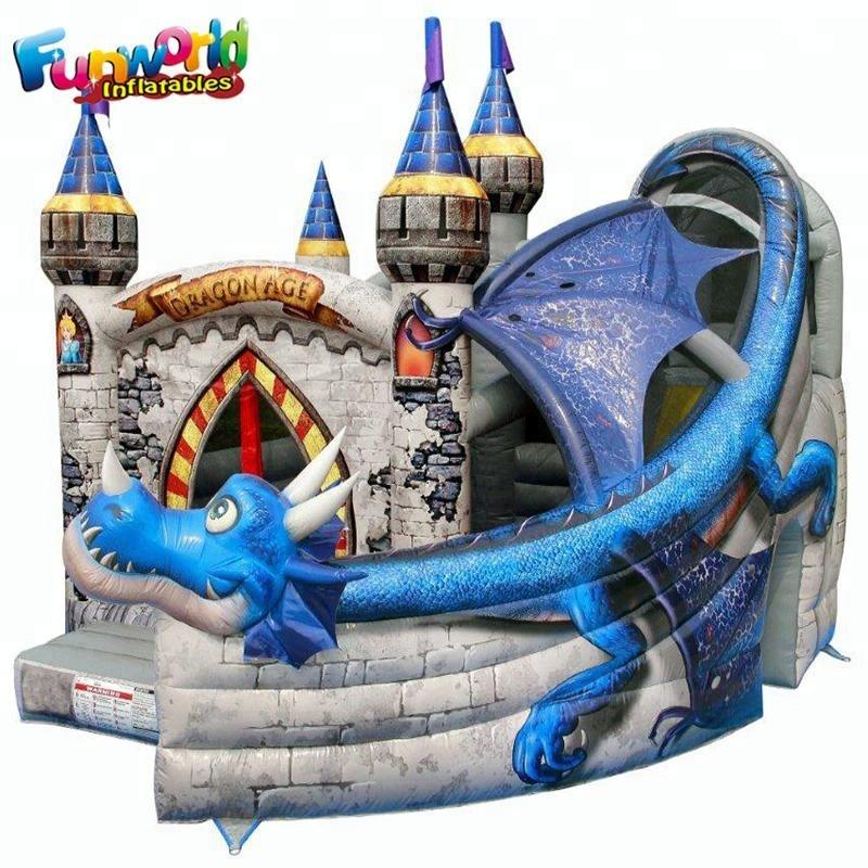 Dragon theme kids bounce house inflatable castle for children inflatable castle slide