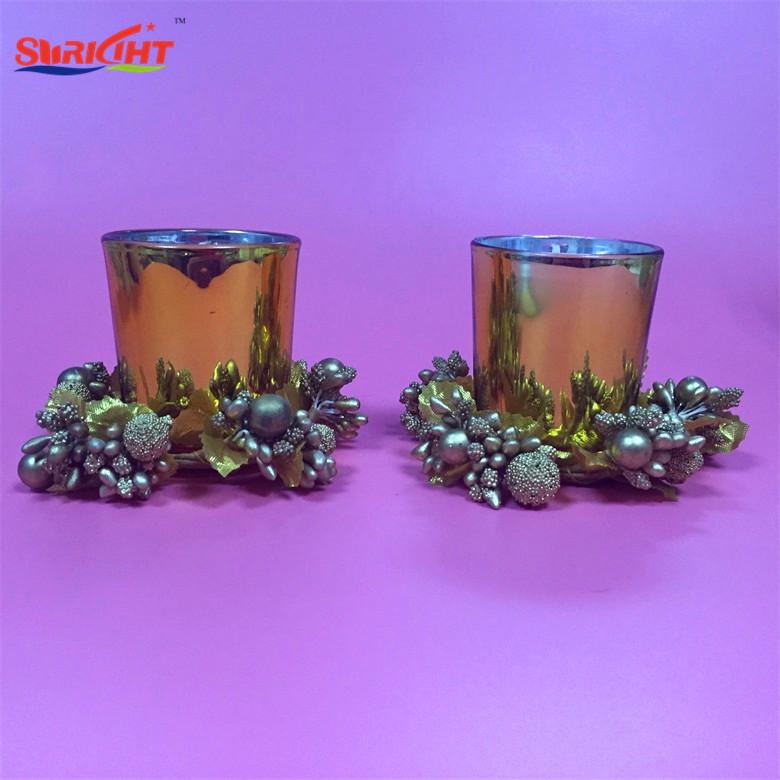 Gold Colored Rim Glass Holder Jars Christmas Laurel Gift Candle