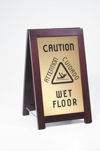 "Cal-Mil 851-WET Floor Sign with Chain, 12"" Width x 17.5"" Depth x 20"" Height, Dark Wood"
