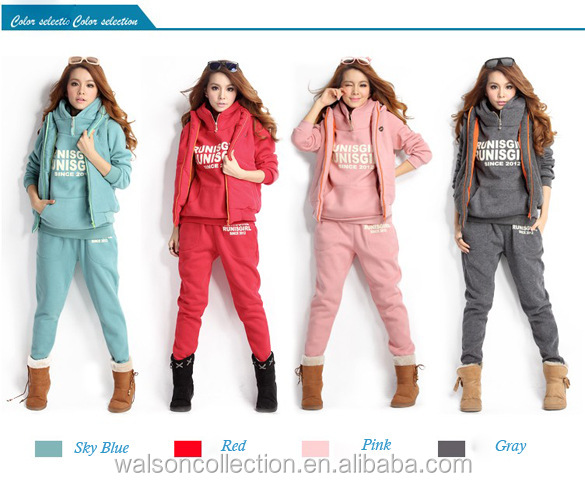 Women Autumn Stylish One Piece Hoodie + Pant + Vest 3pcs Fashion Girl Causal set Cheaper Wholesale