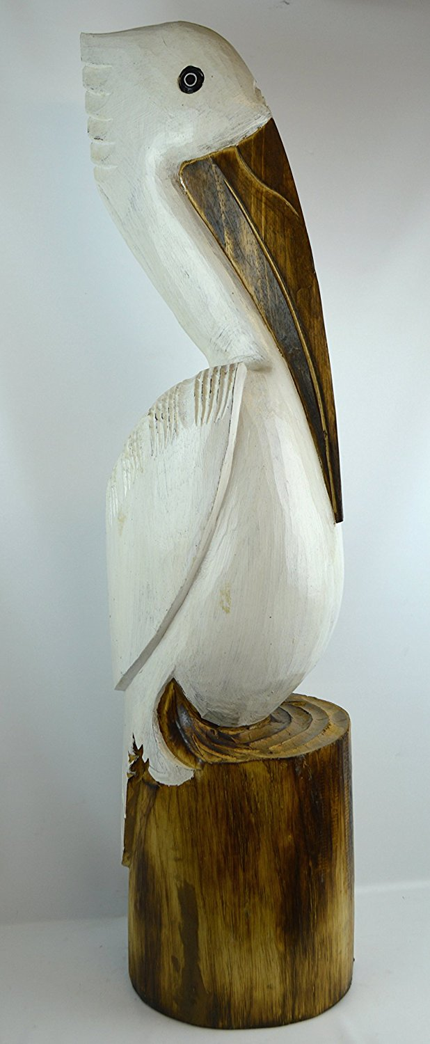 Buy Hand Carved Nautical Wood Pelican Statue Art In Cheap Price On