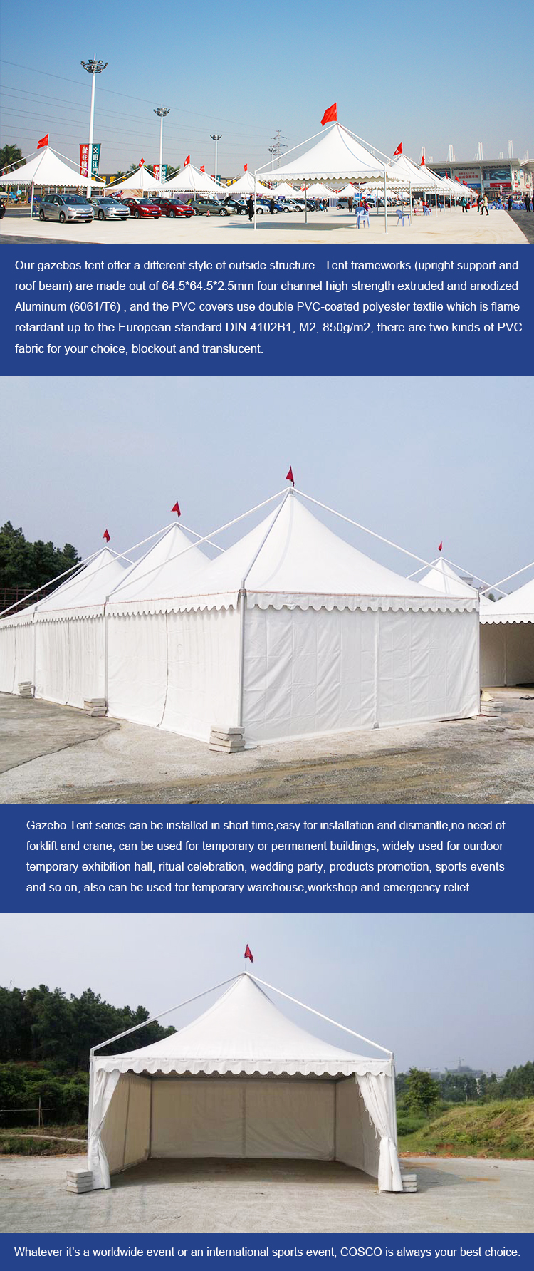 COSCO custom easy assemble waterproof sunproof industrial commercial gazebo outdoor tent for exhibition
