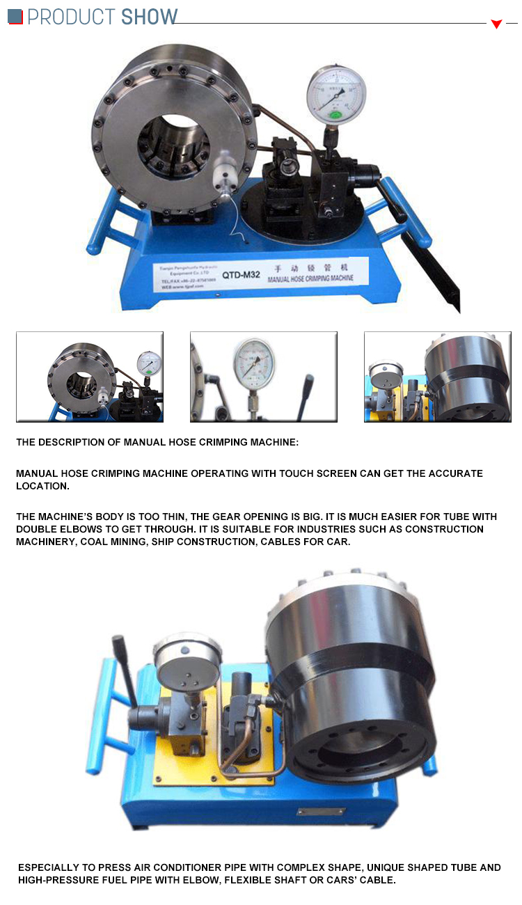 Hydraulic Rubber Manual Hose Crimping Machine Brake Pipe